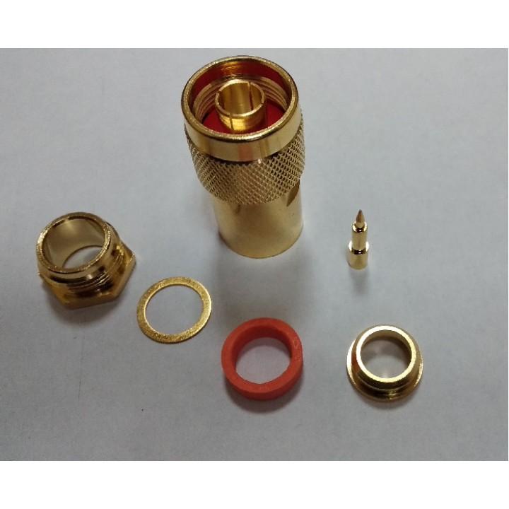 Разъем N Male на кабель RG-8 центр O2,8mm (Пайка), GOLD