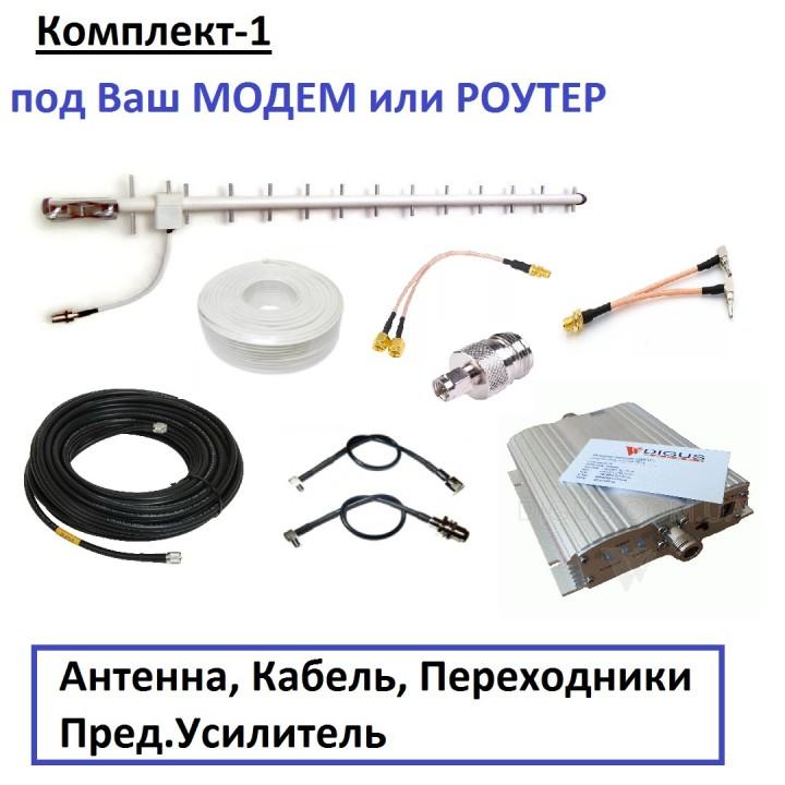 Комплект-1: Антена Хвильовий Канал, Кабель, Перехідники (під Ваш Модем / Роутер) - можлива установка Попереднього Підсилювача