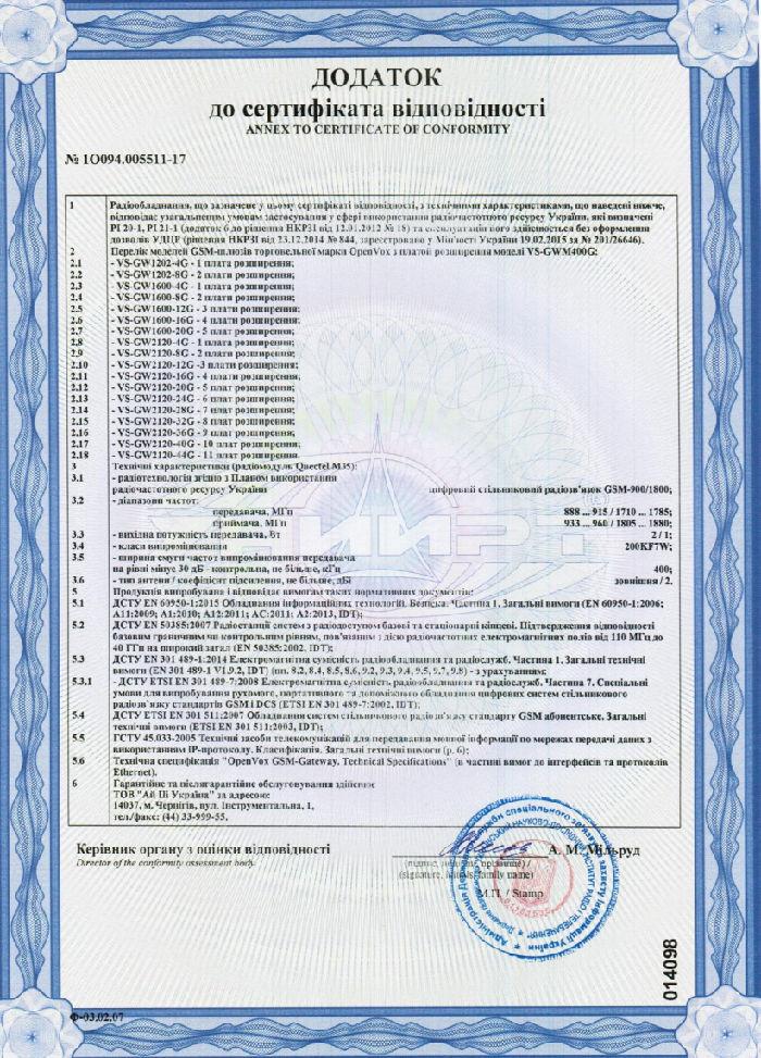 сертификат gsm шлюзы openvox | www.digus.com.ua