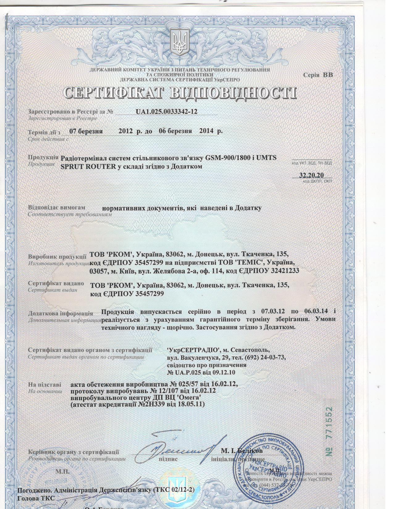 Сертифікат SPRUT ROUTER